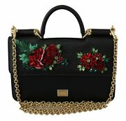Dolce And Gabbana Black Floral Crystal Cross Body Sicily Leather Bag