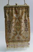 Ant. Early 20th Century Very Fine Micro Bead Victorian Style Purse W/ Enameling