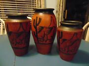 Vintage Made In Mexico Set Of 3 Pottery Vases W/horses And Saguaro Cacti