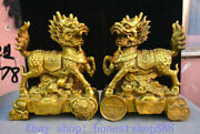 10 China Copper Brass Fengshui Qilin Kylin God Beast Wealth Statue Pair