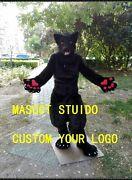 Black Wolf Mascot Costume Suit Cosplay Party Game Dress Outfit Halloween Adult