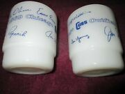 Pair Anchor Hocking Fire-king Mug 1969 Chicago Cubs Infield And Outfield
