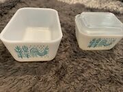Pyrex Refrigerator Dishes Amish Butterprint Rooster Blue/turquoise 3 Pc. Vintage