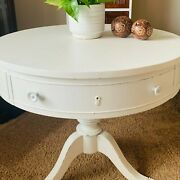 Broyhill Drum Table, Antique, Refurbished In White Color And Accentuated Drawer.