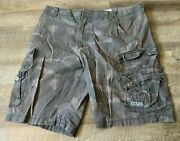 Marc Ecko Cut And Sew Cargo Shorts Green Camo Camoflage Size 36 Brown Men