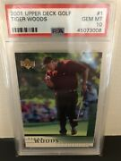 2001 Upper Deck Golf 1 Tiger Woods Rc Rookie Psa 10, Perfect Centering