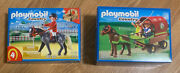 Playmobil 5228 And 5110 - Country Pony Wagon And Horse Farm Equestrian Stable