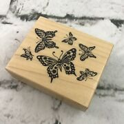 Vintage 1995 Flocking Butterflies Rubber Stamp 2.25x2.75andrdquo Wood Mounted By Psx