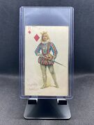 1890 N457 Trumps Long Cut Playing Cards Blue Back - King Of Dimonds