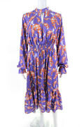 Three Floor Womens Tie Neck Lisbon Sisters Dress Purple Size Large 11300397