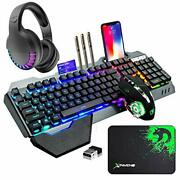 Wireless Gaming Keyboard Mouse Bluetooth Headset Kit With 16 Rgb Rainbow Rgb