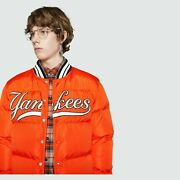 Menand039s Bomber Jacket Ny Yankees Patch 534963 6528e Orange Down Quilted 48 M