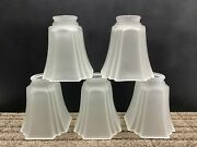 Lot Of 5 Frosted Glass Square Bottom Light Lamp Shades