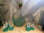 Murano Glass Boat Decanter W Topper And 6 Glasses Set Made In Italy