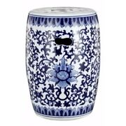 Round Floral Design Transitional Ceramic Stool White And Blue
