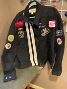 Racing Jacket With Vintage Patches/white Stripe On Black