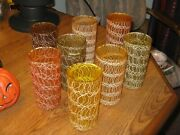 8 Vintage 1960s Mid Century Spaghetti String Rubber Coated Beverage Glasses