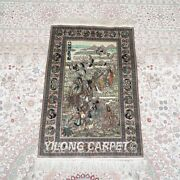 Yilong 2and039x3and039 500lines Eight Immortals Design Silk Area Rug Tapestry Carpet 572h