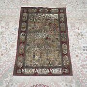 Yilong 2and039x3and039 500lines Handmade Silk Area Rug Country Scene Tapestry Carpet 575h