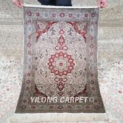 Yilong 2and039x3and039 500lines Handmade Silk Area Rug Medallion Tapestry Carpet 576h