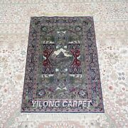 Yilong 2and039x3and039 500lines Handmade Silk Area Rug Traditional Tapestry Carpet 571h