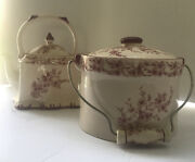 Beautiful Two Piece Ceramic Tea Pot And Crock In Red Florals Both W Lids And Handles