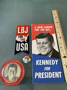 Jfk John F. Kennedy And Lbj Collectibles Brochure Buttons