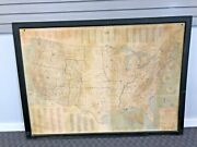 Vintage Framed Us Map Wall Art School Chart Poster Display Antique Military Base