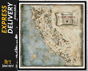 California Map - Fantasy Map Usa Detailed Map Wall Art Middle Earth Inspired