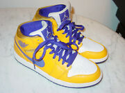 2012 Nike Air Jordan Retro 1 Mid Lakers Gold/purple Shoes Size 9.5 Sold As Is