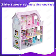 Large Children's Wooden Doll House Kid's House With Furniture Play Pink Handmade