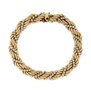 Vintage Succo And Co. 14k Yellow Gold Pearl Twisted Rope Chain Bracelet