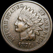 1874 Indian Cent Penny ---- Nice Coin ---- M471