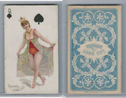 N457 Trumps Long Cut, Playing Cards, Blue Back, 1890, Spade Queen
