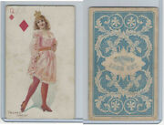 N457 Trumps Long Cut, Playing Cards, Blue Back, 1890, Diamond Queen