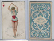 N457 Trumps Long Cut, Playing Cards, Blue Back, 1890, Heart Ace