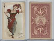 N457 Trumps Long Cut, Playing Cards, Brown Back, 1890, Club Queen