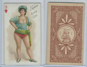 N457 Trumps Long Cut, Playing Cards, Brown Back, 1890, Heart 9