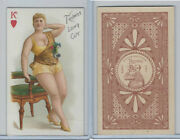 N457 Trumps Long Cut, Playing Cards, Brown Back, 1890, Heart King
