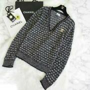 Authentic 2013 Cotton Tweed Vneck Knit 42 Free Shipping No.6506