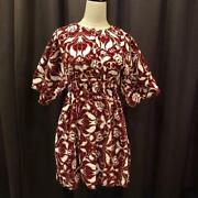 Cheap Red And White Camellia Pattern Pile Fabric Mini Dress No.7092