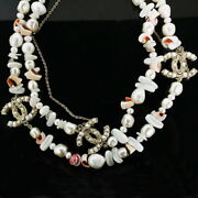 Authentic Pearl Coco Mark Shell Long Necklace With Box No.891