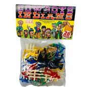 Cowboys And Indians Tim Mee Toy Figures Sealed Moc Vtg Plastic Usa 26 Western Us