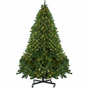 Northlight 12and039 Olympia Pine Artificial Christmas Tree With Wheels-warm White Led