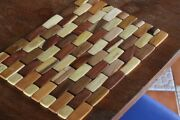 Handcrafted Wooden Tiled Placemat Set Mantel De Madera Wood Place Mats Table
