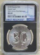 Canada 2018 30th Anniversary Ngc Ms6 First Releases Canada Silver Maple Leaf 5