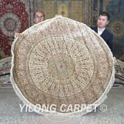 Yilong 5and039x5and039 Beige Handmade Area Rug Circular Hand Knotted Round Carpet 668a
