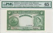 Government Of The Bahamas 4 Shillings 1936 S/no 553656 Pmg 65epq