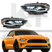 Led Dynamic Drl/turn Amber Side Reflector Headlights For 2018-2020 Ford Mustang