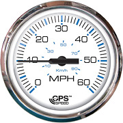 Faria Chesapeake White Stainless Steel 4 Speedometer 60 Mph Gps Studded F33839